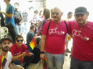 Amb els companys de Diversitat LGTBI moments abans de començar el rodatge del lipdub